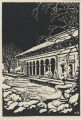 Woodblock print of the Allen Memorial Art Museum by Edward McDowell